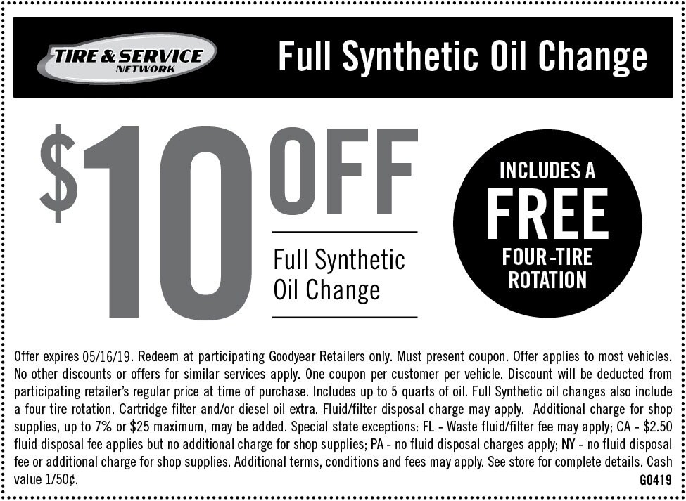 Synthetic Oil Change Coupon >> Goodyear Coupons In Store Printable Coupons 2019