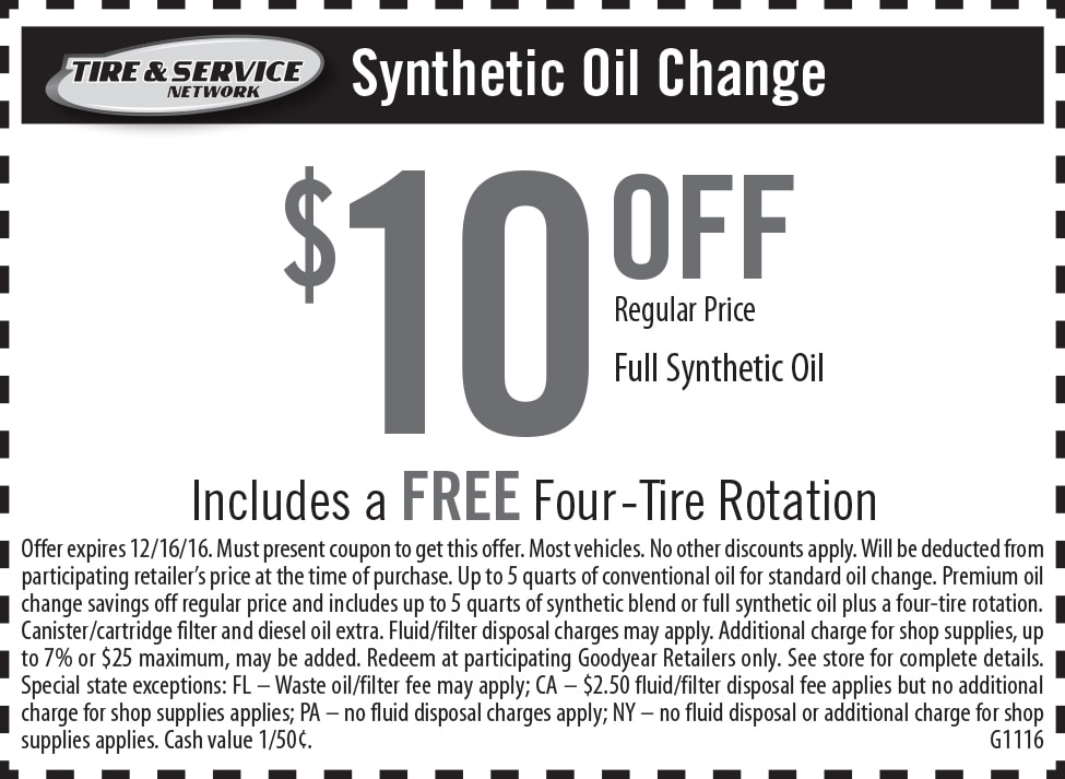 Discount tire center oil change coupon