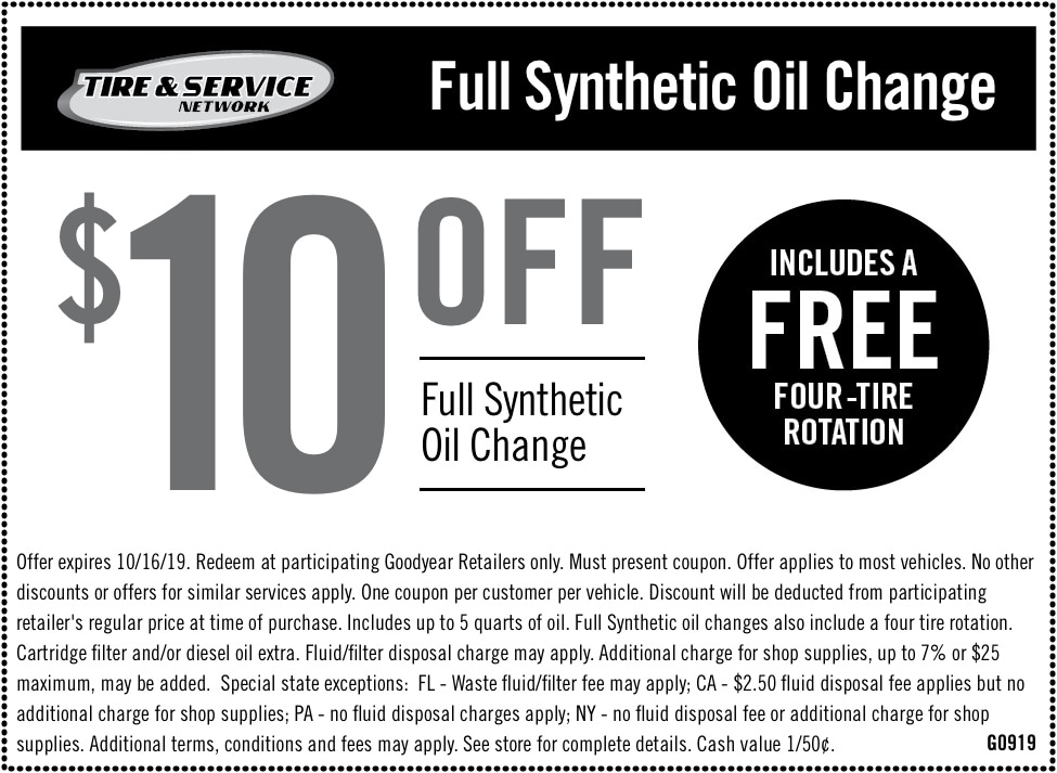 Oil Change Coupons Colorado Springs >> Auto Service Maintenance Coupons Goodyear Tires