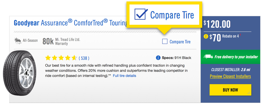 Screenshot showing Step 1 to comparing tires using the Goodyear tire comparison tool