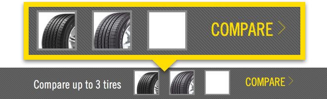 Screenshot showing Step 2 to comparing tires using the Goodyear tire comparison tool