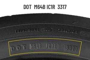 Goodyear DOT number shown on sidewall close up.
