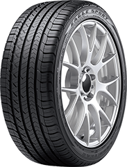 Angled view of the Goodyear Eagle® Sport All-Season SoundComfort Technology® tire