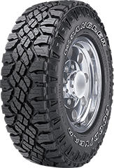 Angled view of the Goodyear Wrangler DuraTrac® tire