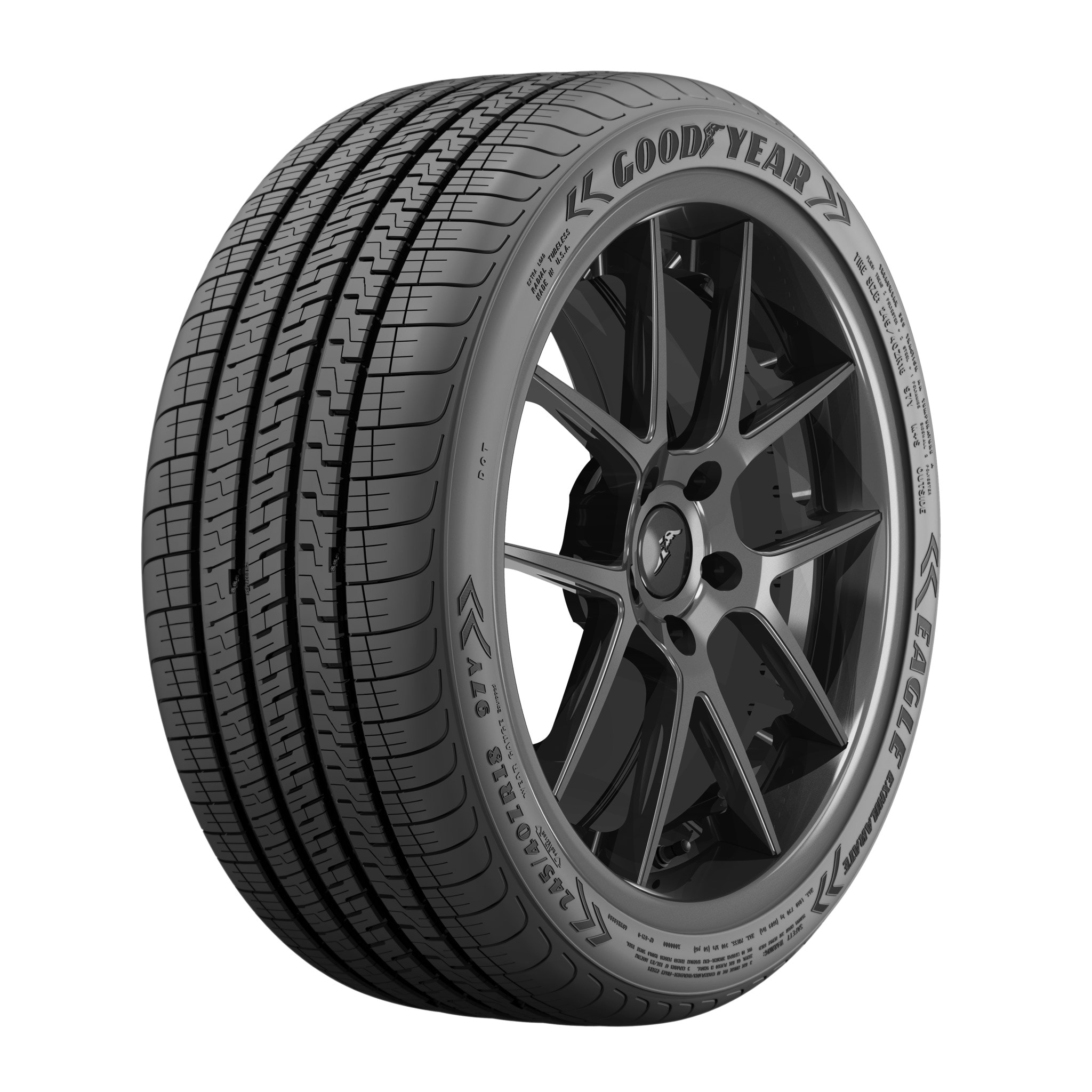 Angled view of the Goodyear Eagle Exhilarate tire