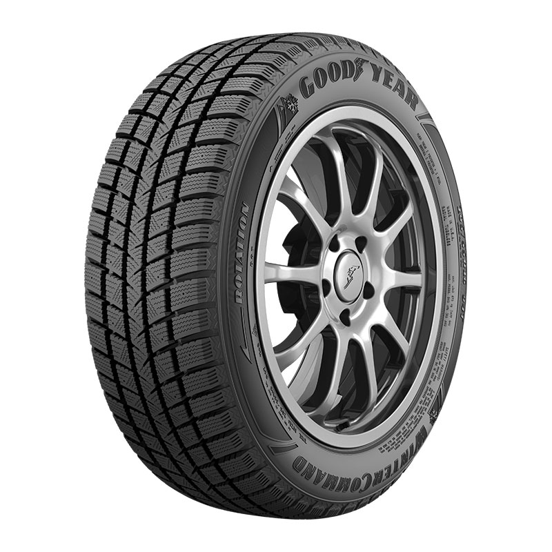 Angled view of the Goodyear WinterCommand™ tire designed for harsh winter weather