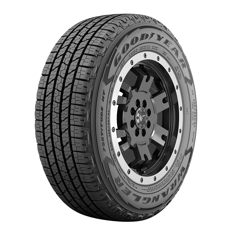 Angled view of the Goodyear Wrangler Fortitude HT C-Type cargo van tire